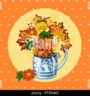 Sample design of placard with cute bouquet of dried flowers on polka dot background. Sketch of poster, postcard, cover, banner. Template card on nature theme in autumn. Vector cartoon close-up. - Stock Photo