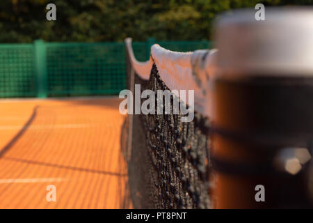 close-up tennis net on court - Stock Photo