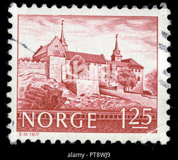 Postmarked stamp from Norway in the Buildings series issued in 1977 - Stock Photo