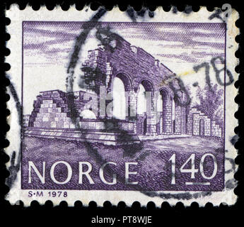 Postmarked stamp from Norway in the Buildings series issued in 1978 - Stock Photo
