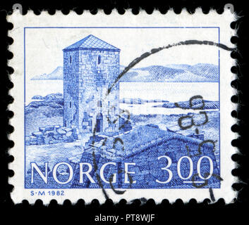 Postmarked stamp from Norway in the Buildings series issued in 1982 - Stock Photo