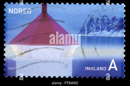 Postmarked stamp from Norway in the Lighthouses series issued in 2007 - Stock Photo