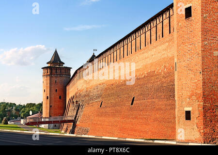 Ancient massive wall and wall tower of Kremlin in Kolomna, Moscow region - Stock Photo