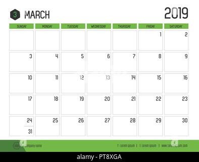 Vector of modern green calendar 2019 ( March ) in simple clean table style.full size 21 x 16 cm; Week start on Sunday - Stock Photo