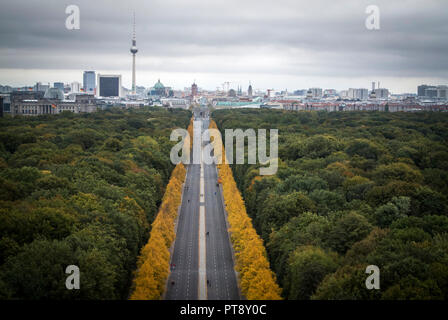 View from The Victory Column which is a major tourist attraction in the city of Berlin. - Stock Photo