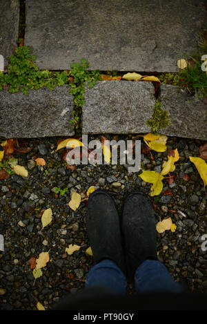 woman standing on a gravel road by a pavement surruonded by small yellow leaves - Stock Photo
