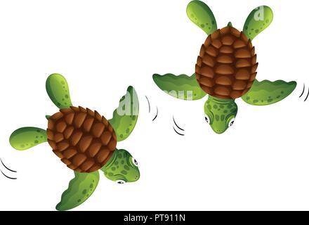 Two baby turtles white background illustration - Stock Photo