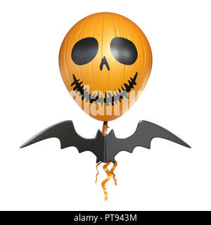 Scary balloon head with bat for Halloween 3D rendering illustration isolated on white background - Stock Photo