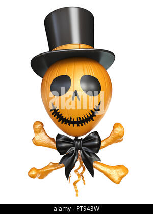 Scary balloon head with bones for Halloween 3D rendering illustration isolated on white background - Stock Photo