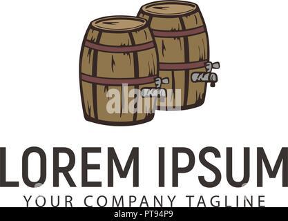Wine Barrel retro hand drawn logo design concept template - Stock Photo