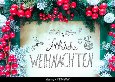 paper with german calligraphy frohe weihnachten means. Black Bedroom Furniture Sets. Home Design Ideas