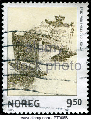 Postmarked stamp from Norway in the Paintings series issued in 2005 - Stock Photo