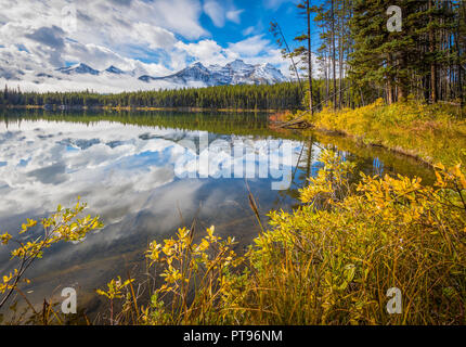 Herbert Lake in Banff National Park in Alberta, Canada. Banff National Park is Canada's oldest national park and was established in 1885. Located in t