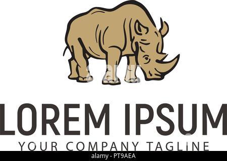 rhino hand drawn logo design concept template stock vector art