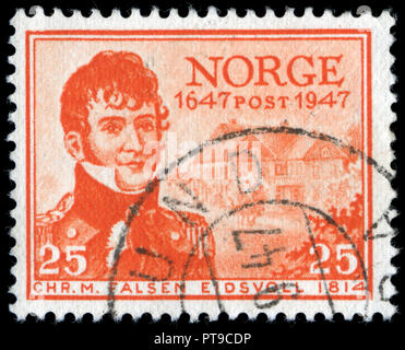 Postmarked stamp from Norway in the Postal Service series issued in 1947 - Stock Photo