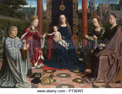The Virgin and Child with Saints and Donor. Date/Period: Probably 1510. Painting. Oil on oak. Height: 105.8 cm (41.6 in); Width: 144.4 cm (56.8 in). Author: Gerard David. DAVID, GERARD. - Stock Photo