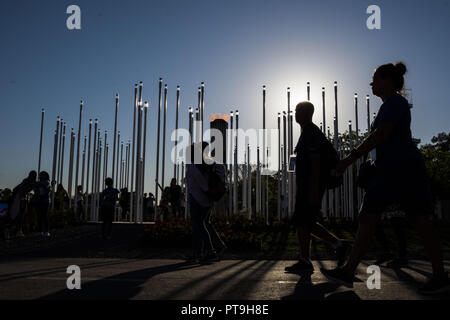 City Of Buenos Aires, City of Buenos Aires, Argentina. 7th Oct, 2018. SPORT. City of Buenos Aires, Argentina - 2018, October 7.- Olympic Flame at Buenos Aires 2018 Youth Olympic Games at Youth Olympic Park on October 7, 2018 in City of Buenos Aires, Argentina. Credit: Julieta Ferrario/ZUMA Wire/Alamy Live News - Stock Photo