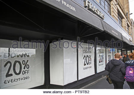 Edinburgh, United Kingdom. 8th October, 2018. House of Fraser Department Store Closing down sale 20% off everything. In June 2018 the company announced that it would close 31 of its 58 UK stores including Edinburgh Frasers, Princes Street. A closing down sale is now in operation and currently the shop is due to close permanently in January 2019. Credit: Craig Brown/Alamy Live News. - Stock Photo