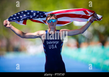 Buenos Aires, Argentina. 08th Oct, 2018. SHELLENBERGER Andrew of the United States during triathlon competition of the Buenos Aires 2018 Youth Olympic Games, at the Parque Verde in Palermo, Buenos Aires, Argentina. Credit: Marcelo Machado de Melo/FotoArena/Alamy Live News - Stock Photo
