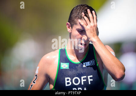 Buenos Aires, Argentina. 08th Oct, 2018. Pedro Henrique Boff do Brasil arrives 20th in the triathlon race of the Buenos Aires 2018 Youth Olympic Games with a total time of 57:26, at the Parque Verde in Palermo, Buenos Aires, Argentina. Credit: Marcelo Machado de Melo/FotoArena/Alamy Live News - Stock Photo