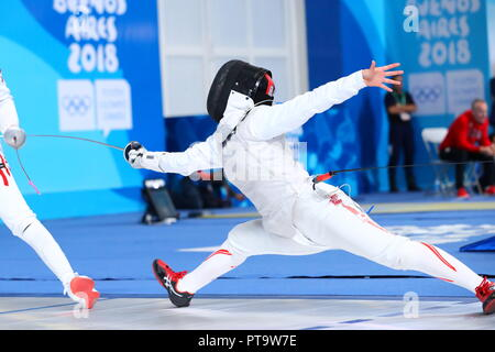 Buenos Aires, Argentina. 7th Oct, 2018. Yuka Ueno (JPN) Fencing : Women's Individual Foil quarter-final during Buenos Aires 2018 Youth Olympic Games at Youth Olympic Park in Buenos Aires, Argentina . Credit: Naoki Nishimura/AFLO SPORT/Alamy Live News - Stock Photo