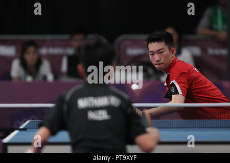 Buenos Aires City, Argentina. 08th Oct, 2018. Azerbaijan's Khinhang Yu in action against New Zealander Nathan Yu during the Buenos Aires 2018 Youth Olympic Games men's table tennis event, at the Promenade of the Coast, in Buenos Aires, Argentina, 08 October 2018. Credit: Juan Ignacio Roncoroni/EFE/Alamy Live News - Stock Photo