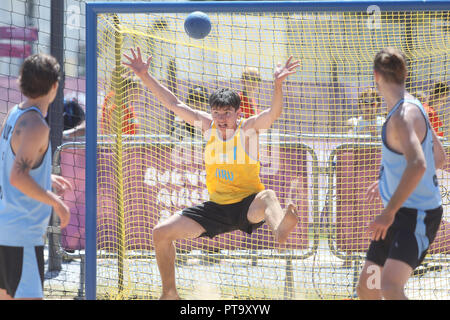 Buenos Aires City, Argentina. 08th Oct, 2018. Uruguay's Santiago Gonzalez during the Buenos Aires 2018 Youth Olympic Games beach volleyball event, at the Promenade of the Coast, in Buenos Aires, Argentina, 08 October 2018. Credit: Juan Ignacio Roncoroni/EFE/Alamy Live News - Stock Photo
