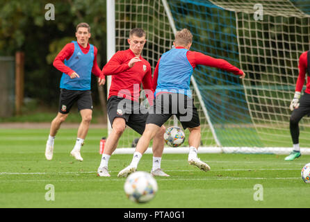 Hensol, Wales, UK. 8th Oct 2018. Ben Woodburn during Wales national team training at the Vale Hotel and Resort in Hensol near Cardiff this morning ahead of the International Challenge match against Spain on Thursday evening. Credit: Phil Rees/Alamy Live News - Stock Photo