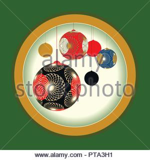 Asian style lanterns Christmas balls card in red green gold shades - Stock Photo