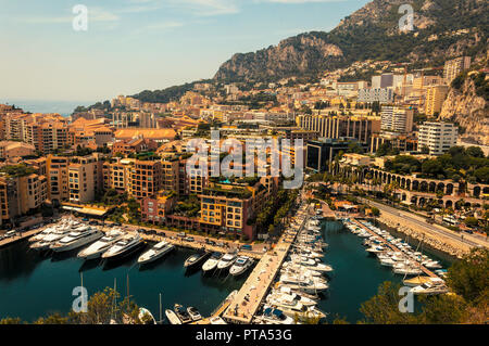 Fontvieille district in the Principality of Monaco during a summer day - Stock Photo