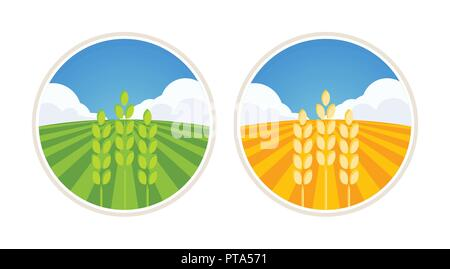 Farm Label with Wheat and Barley - Stock Photo