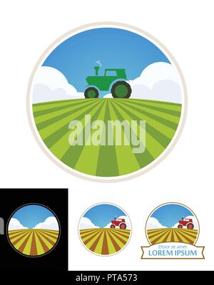 Farm Tractor and Green Field of Barley - Stock Photo