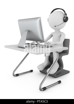 A man in headphones with a microphone sits at a table with a personal computer. 3d rendering. - Stock Photo