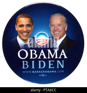2008 Presidential Election Barack Obama and Joseph Biden Campaign Button Pin - Stock Photo