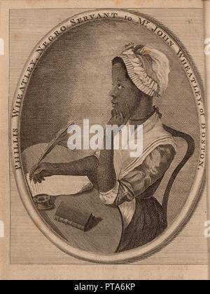 Portrait of the poet Phillis Wheatley (c.1753-1784), 1773. Creator: Anonymous. - Stock Photo