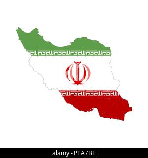 Iran country silhouette with flag on background on white - Stock Photo