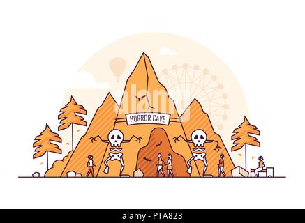 Horror cave - thin line design style vector illustration on white background. High quality orange colored composition with a fun attraction in the amu - Stock Photo