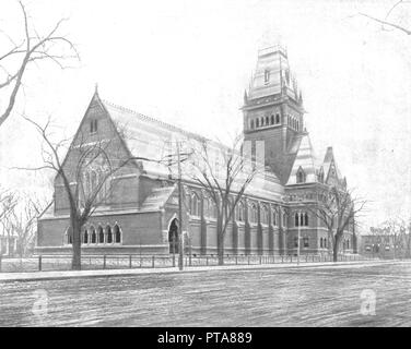 Memorial Hall, Cambridge, Massachusetts, USA, c1900. Designed by William Robert Ware and Henry Van Brunt and built in 1878, the Hall commemorates the sacrifices made by Harvard University men fighting on the Union side during the American Civil War: 'a symbol of Boston's commitment to the Unionist cause and the abolitionist movement in America'. From Scenic Marvels of the New World edited by Prof. Geo.R. Cromwell. [C.N.Greig & Co., c1900] - Stock Photo