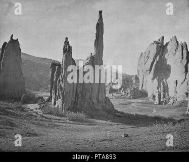 Cathedral Spires, Garden of the Gods, Colorado, USA, c1900. Steep sandstone rock formations caused by erosion over millions of years. From Scenic Marvels of the New World edited by Prof. Geo.R. Cromwell. [C.N.Greig & Co., c1900] - Stock Photo