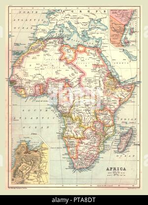 Map of Africa, 1902. Showing colonial possessions including French West Africa and German South West Africa, with insets of Table Bay in South Africa, and British and German East Africa. From The Century Atlas of the World. [John Walker & Co, Ltd., London, 1902] - Stock Photo