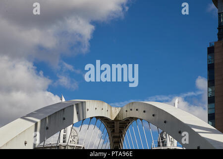 Abstract view of the Lowry Bridge, Salford Quays, Greater Manchester, UK - Stock Photo