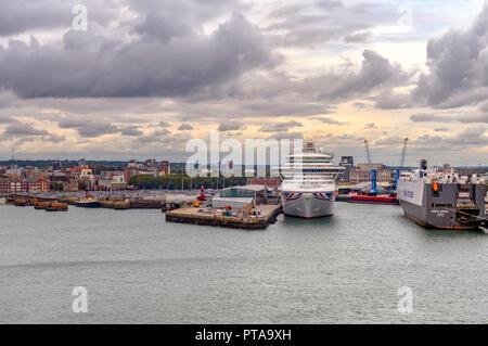 Carnival / P & O Azura docked at Southampton - Stock Photo