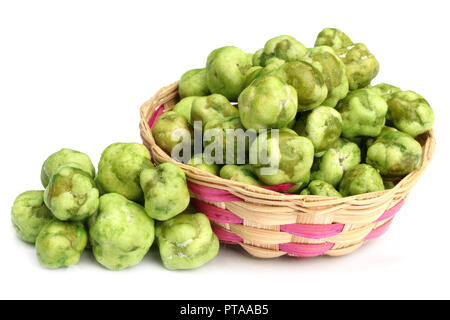 Crispy green peas isolated on white background - Stock Photo