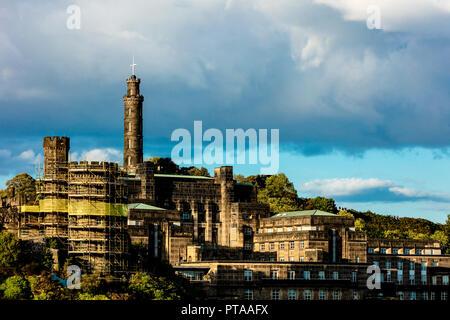 Edinburgh, UK - August 26 2018: Carlton Hill architectural details featuring Nelson Monument - Stock Photo