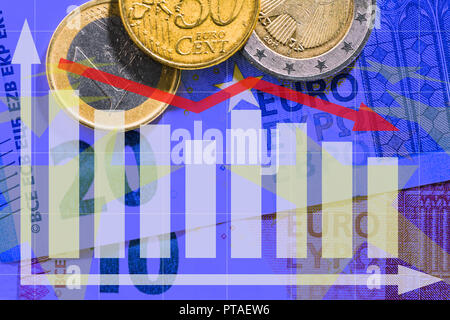 Euro notes and coins with diagram - Stock Photo