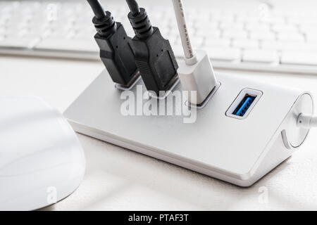 USB HUB with mouse and computer keyboard - Stock Photo