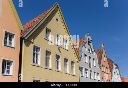 Colorful facades in historic Warendorf, Germany - Stock Photo