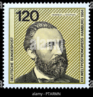 German postage stamp (1984) : Heinrich von Stephan (Ernst Heinrich Wilhelm Stephan: 1831 – 1897) general post director for the German Empire who reorg - Stock Photo