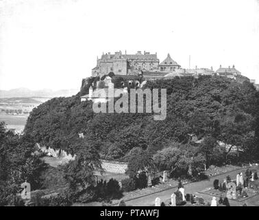 Stirling Castle, Scotland, 1894. Situated on top of a volcanic outcrop known as Castle Rock, Stirling Castle is one of the largest castles in Scotland. Its strategic location meant that control of Stirling was militarily important and as a result the castle endured several sieges. From Beautiful Britain; views of our stately homes. [The Werner Company of Chicago, 1894] - Stock Photo