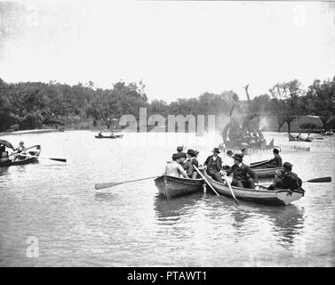 Lake in Wade Park, Cleveland, Ohio, USA, c1900.  Creator: Unknown. - Stock Photo